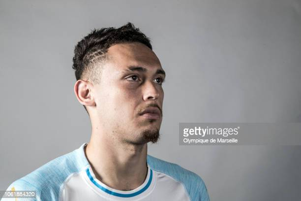 Lucas Ocampos poses at Centre d'Entrainement Robert Louis Dreyfus on November 15 2018 in Marseille France