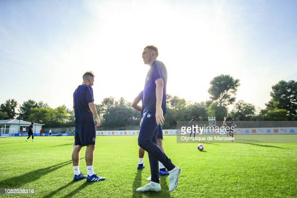 Lucas Ocampos reacts during an Olympique de Marseille training session at RobertLouisDreyfus training center on October 19 2018 in Marseille France