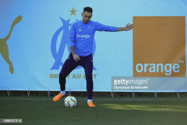 Lucas Ocampos runs with the ball during a Olympique de Marseille training session at Centre Robert LouisDreyfus on November 28 2018 in Marseille...