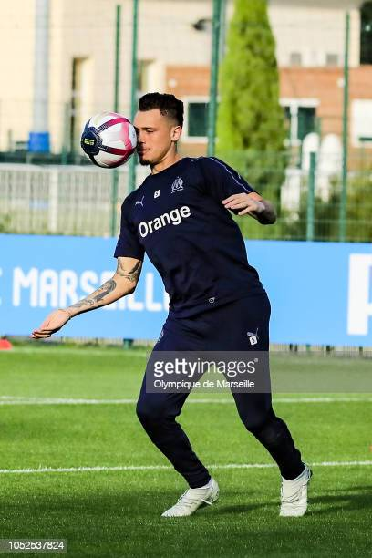 Lucas Ocampos warms up during an Olympique de Marseille training session at RobertLouisDreyfus training center on October 19 2018 in Marseille France