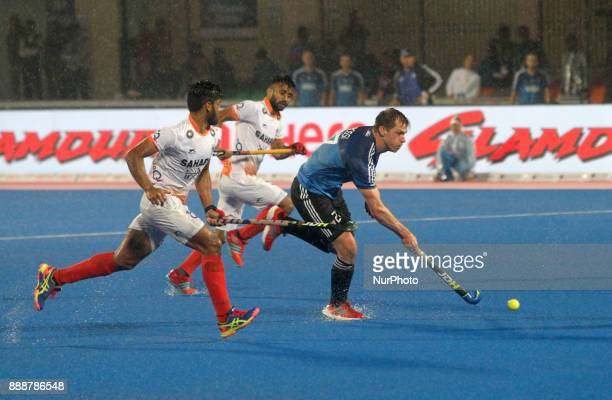 Lucas of Argentina in action during the semi final round match of the Hockey World League Final 2017 between India and Argentina at the Kaling...