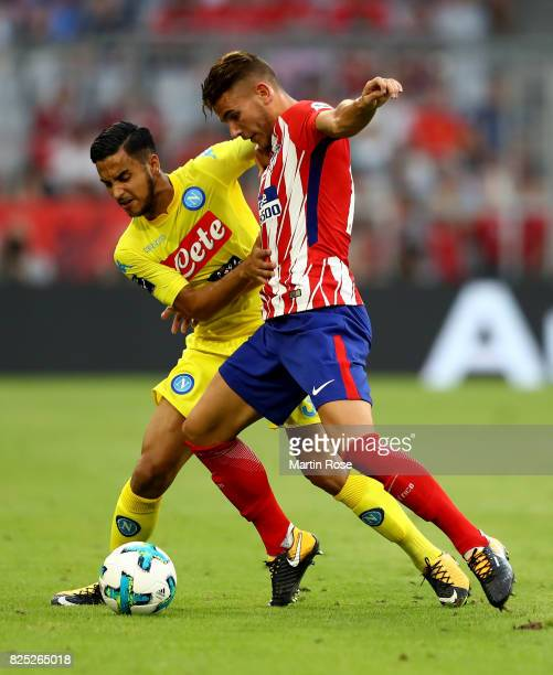 Lucas of Atletico Madrid and Adam Ounas of Napoli battle for the ball during the Audi Cup 2017 match between Club Atletico de Madrid and SSC Napoli...