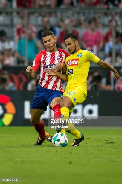 Lucas of Atletico Madrid and Adam Ounas of Napoli of Atletico Madrid and Faouzi Ghoulam of SSC Napoli fight for the ball during the Audi Cup 2017...