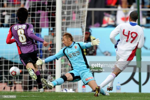 Lucas of FC Tokyo scores their third goal during the Emperor's Cup Final match between Kyoto Sanga and FC Tokyo at the National Stadium on January 1...