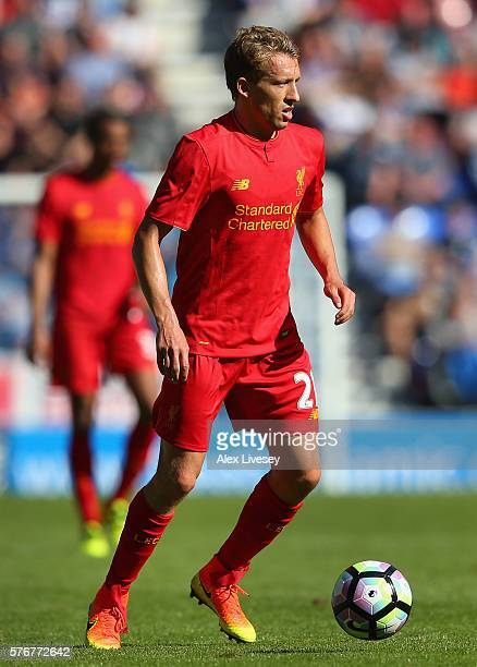 Lucas of Liverpool controls the ball during a preseason friendly between Wigan Athletic and Liverpool at JJB Stadium on July 17 2016 in Wigan England