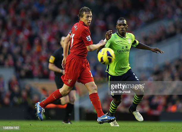 Lucas of Liverpool in action during the Barclays Premier League match between Liverpool and Aston Villa at Anfield on December 15 2012 in Liverpool...