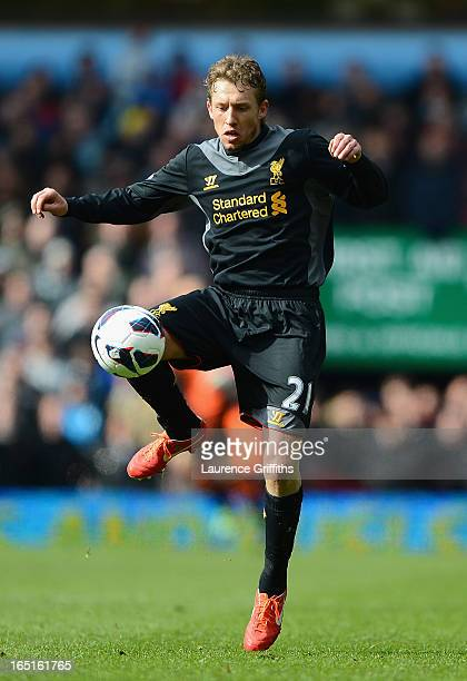Lucas of Liverpool in action during the Barclays Premier League match between Aston Villa and Liverpool at Villa Park on March 31 2013 in Birmingham...