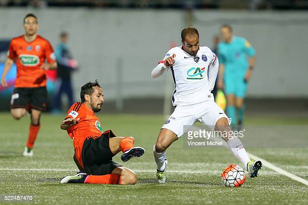 Lucas of Paris Saint Germain and Walid Mesloub of Lorient during the semi-final French Cup between Lorient and Paris Saint-Germain at Stade du...