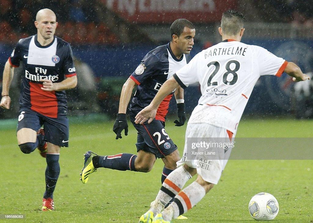 Lucas of Paris Saint-Germain during the French League 1 between Paris Saint-Germain FC and Lorient FC, at Parc des Princes on November 1, 2013 in Paris, France.