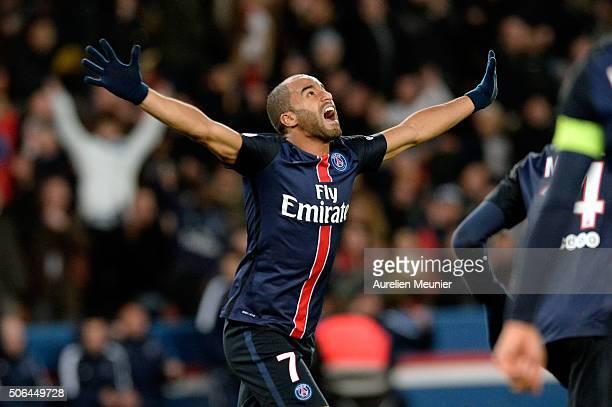 Lucas of Paris SaintGermain reacts after scoring during the Ligue 1 game between Paris SaintGermain and Angers SCO at Parc des Princes on January 23...