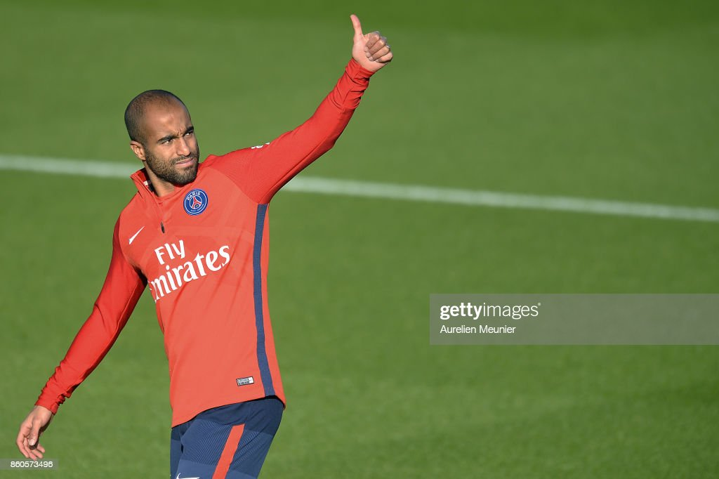 Lucas of Paris Saint-Germain reacts as he arrives for a Paris Saint-Germain training session at Centre Ooredoo on October 12, 2017 in Paris, France.