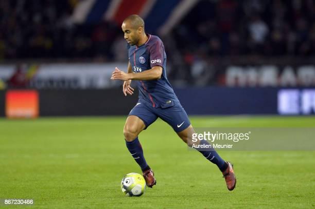Lucas of Paris SaintGermain runs with the ball during the Ligue 1 match between Paris Saint Germain and OGC Nice at Parc des Princes on October 27...