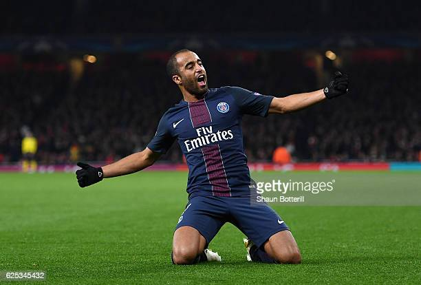 Lucas of PSG celebrates scoring his sides second goal during the UEFA Champions League Group A match between Arsenal FC and Paris SaintGermain at the...