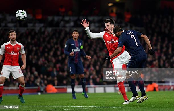 Lucas of PSG scores his sides second goal during the UEFA Champions League Group A match between Arsenal FC and Paris SaintGermain at the Emirates...