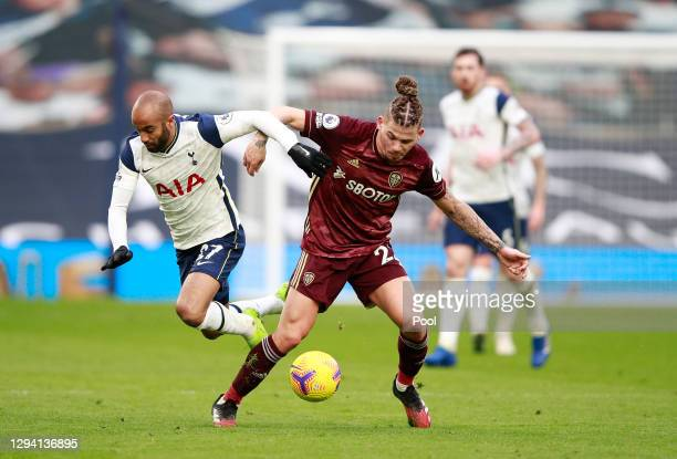 Lucas of Tottenham Hotspur and Kalvin Phillips of Leeds United battle for possession during the Premier League match between Tottenham Hotspur and...