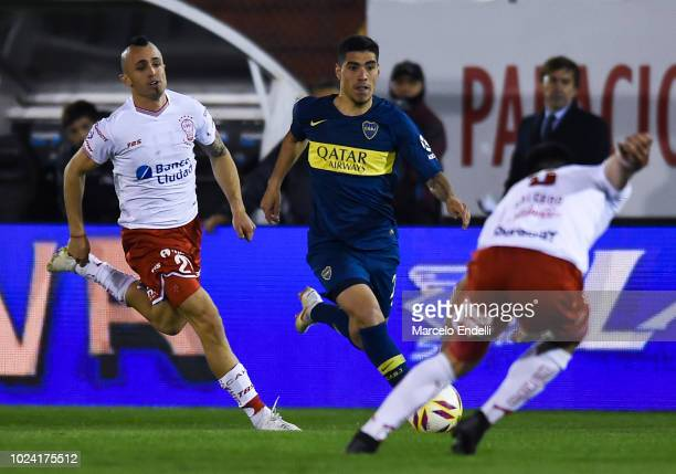 Lucas Olaza of Boca Juniors drives the ball during a match between Huracan and Boca Juniors as part of Superliga Argentina 2018/19 at Estadio Tomas...