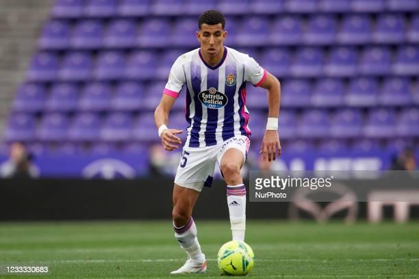 Lucas Olaza of Valladolid controls the ball during the La Liga Santander match between Real Valladolid CF and Atletico de Madrid at Estadio Municipal...