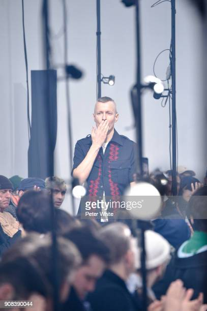 Lucas Ossendrijver acknowledges the audience after the Lanvin Menswear Fall/Winter 2018-2019 show as part of Paris Fashion Week on January 21, 2018...