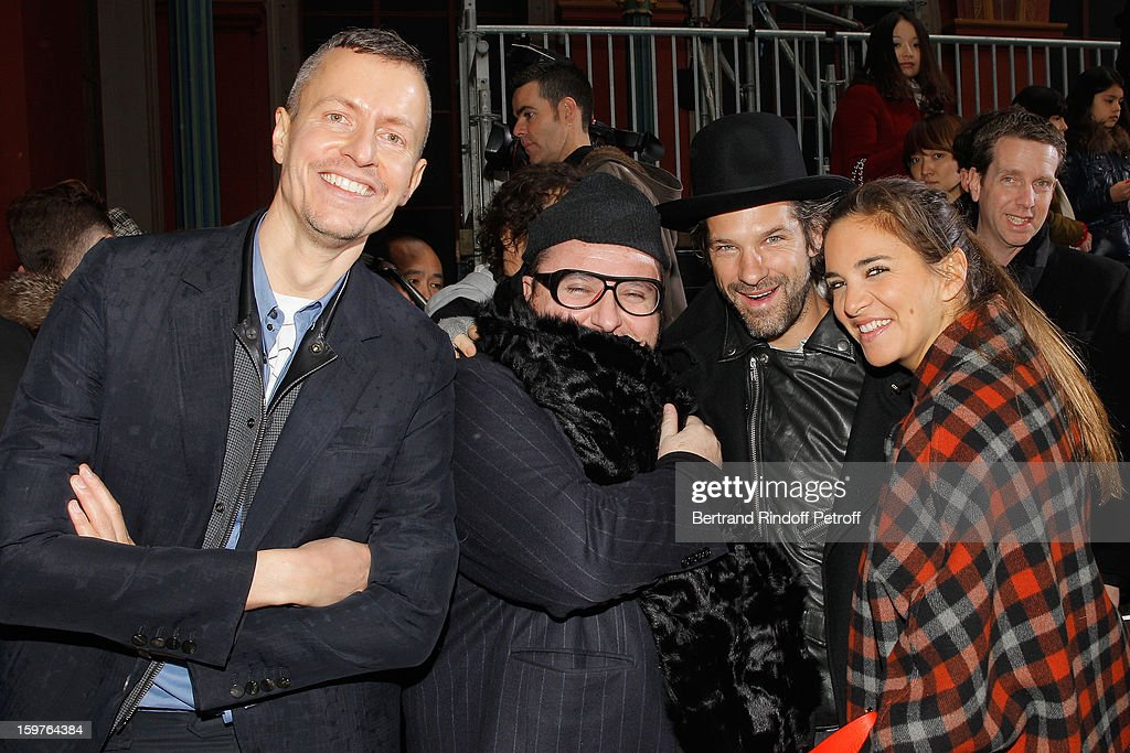 Lucas Ossendrijver, Alber Elbaz, Aaron Young and Laure Heriard Dubreuil attend the Lanvin Men Autumn / Winter 2013 show at Ecole Nationale Superieure Des Beaux-Arts as part of Paris Fashion Week on January 20, 2013 in Paris, France.