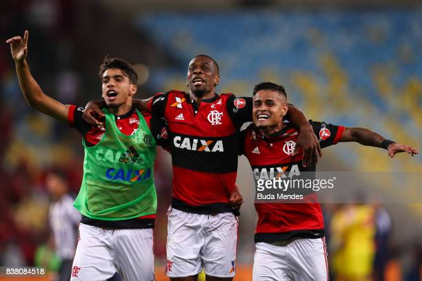 Lucas Paquetá Juan and Everton of Flamengo celebrate the victory after a match between Flamengo and Botafogo part of Copa do Brasil SemiFinals 2017...