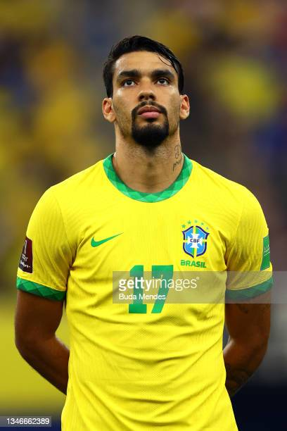 Lucas Paquetá of Brazil looks on prior to a match between Brazil and Uruguay as part of South American Qualifiers for Qatar 2022 at Arena Amazonia on...