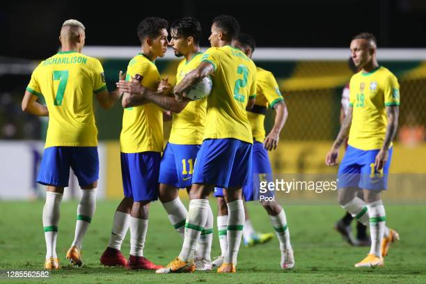 Lucas Paquetá, Roberto Firmimo, Danilo and Richarlison celebrate after their victory over Venezuela as part of South American Qualifiers for World...