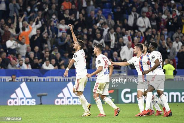 Lucas PAQUETA - 14 Leo DUBOIS during the Ligue 1 Uber Eats match between Lyon and Troyes at Groupama Stadium on September 22, 2021 in Lyon, France.
