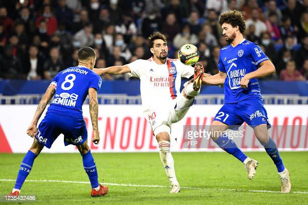 Lucas PAQUETA - 21 Philippe SANDLER during the Ligue 1 Uber Eats match between Lyon and Troyes at Groupama Stadium on September 22, 2021 in Lyon,...
