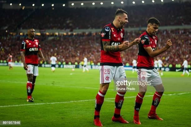 Lucas Paqueta and Felipe Vizeu of Flamengo celebrates a scored goal during the Copa Sudamericana 2017 Final match between Flamengo and Independiente...