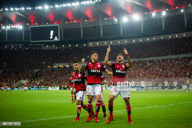 Lucas Paqueta Felipe Vizeu and Everton of Flamengo celebrates a scored goal during the Copa Sudamericana 2017 Final match between Flamengo and...