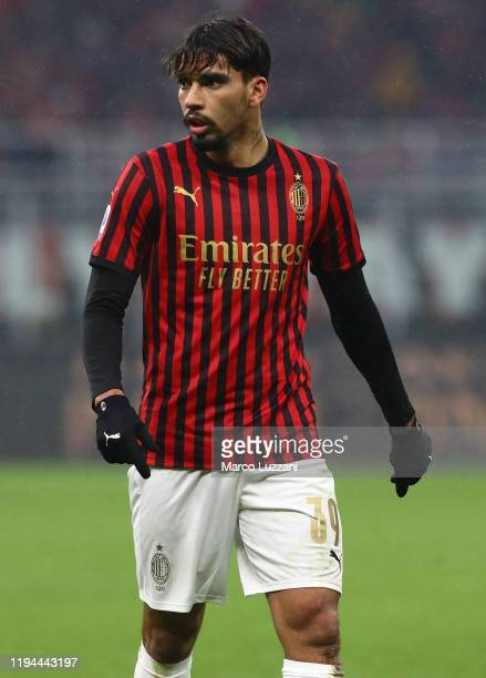 Lucas Paqueta of AC Milan looks on during the Serie A match between AC Milan and US Sassuolo at Stadio Giuseppe Meazza on December 15 2019 in Milan...