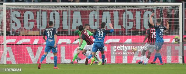 Lucas Paqueta of AC Milan scores a disallowed goal during the Serie A match between AC Milan and Empoli at Stadio Giuseppe Meazza on February 22 2019...