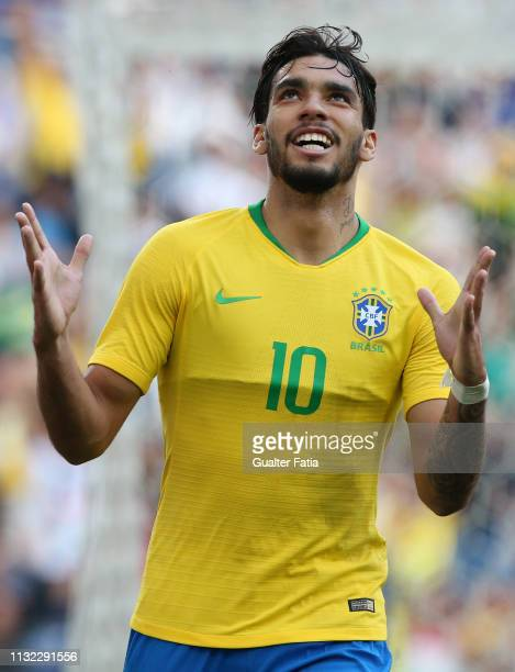 Lucas Paqueta of Brazil and AC Milan celebrates after scoring a goal during the International Friendly match between Brazil and Panama at Estadio do...