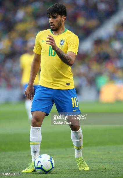 Lucas Paqueta of Brazil and AC Milan in action during the International Friendly match between Brazil and Panama at Estadio do Dragao on March 23...