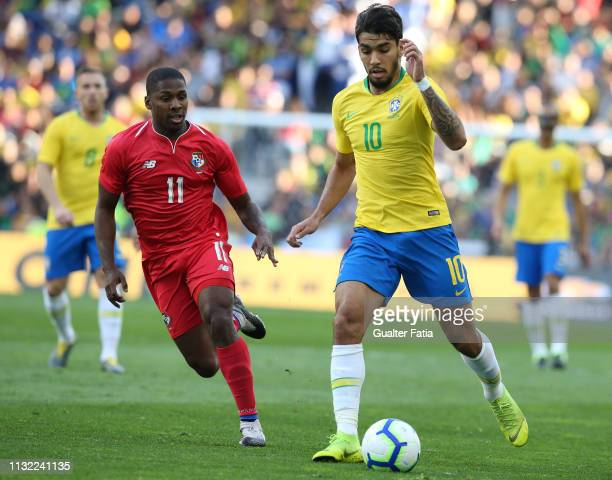 Lucas Paqueta of Brazil and AC Milan with Armando Cooper of Panama in action during the International Friendly match between Brazil and Panama at...