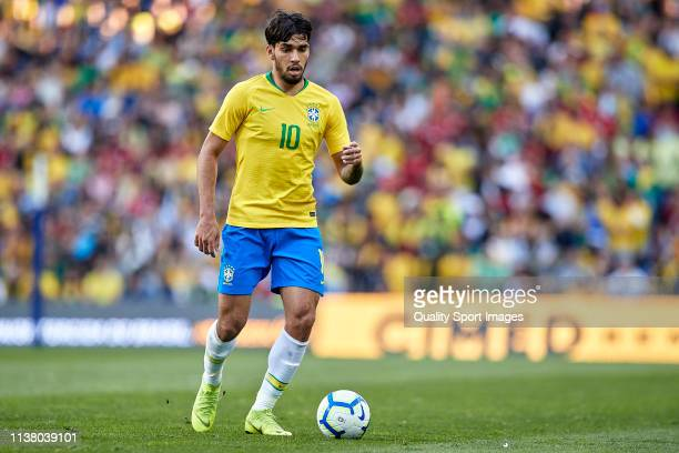Lucas Paqueta of Brazil in action during the International Friendly match between Brazil and Panama at Estadio do Dragao on March 23 2019 in Porto...