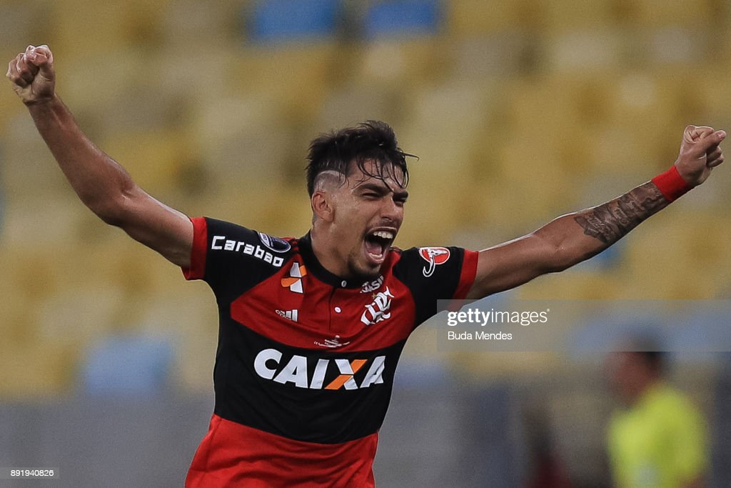 Lucas Paqueta of Flamengo celebrates a scored goal against Independiente during the second leg of the Copa Sudamericana 2017 final between Flamengo and Independiente at Maracana stadium on December 13, 2017 in Rio de Janeiro, Brazil.