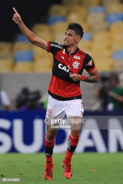 Lucas Paqueta of Flamengo celebrates a scored goal against Independiente during the second leg of the Copa Sudamericana 2017 final between Flamengo...