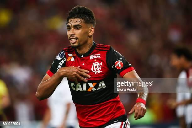 Lucas Paqueta of Flamengo celebrates a scored goal during the Copa Sudamericana 2017 Final match between Flamengo and Independiente at Maracana...