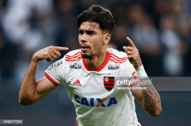 Lucas Paqueta of Flamengo celebrates after scoring the first goal of his team during the match against Corinthians for the Brasileirao Series A 2018...