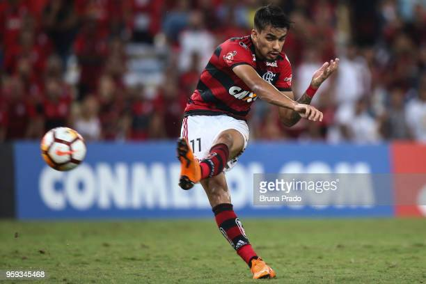Lucas Paqueta of Flamengo kichs the ball during a Group Stage match between Flamengo and Emelec as part of Copa CONMEBOL Libertadores 2018 at...