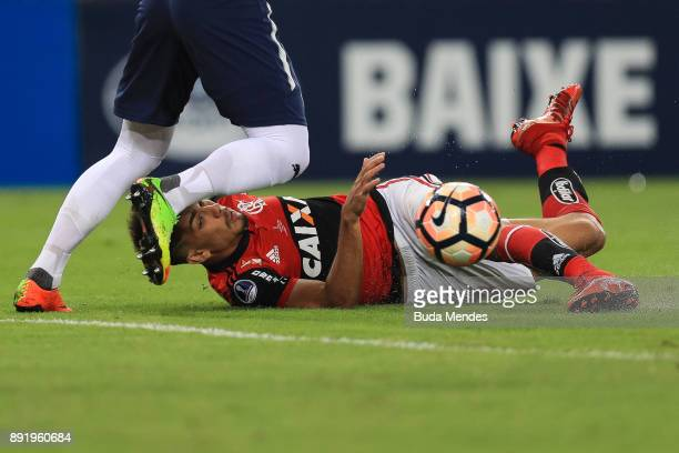 Lucas Paqueta of Flamengo kicks the ball during the second leg of the Copa Sudamericana 2017 final between Flamengo and Independiente at Maracana...