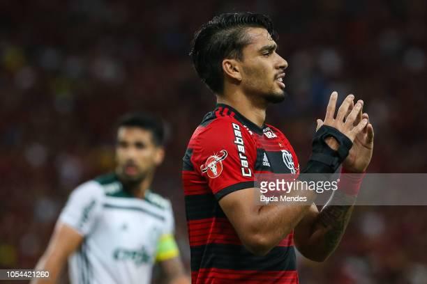 Lucas Paqueta of Flamengo reacts during a match between Flamengo and Palmeiras as part of Brasileirao Series A 2018 at Maracana Stadium on October 27...