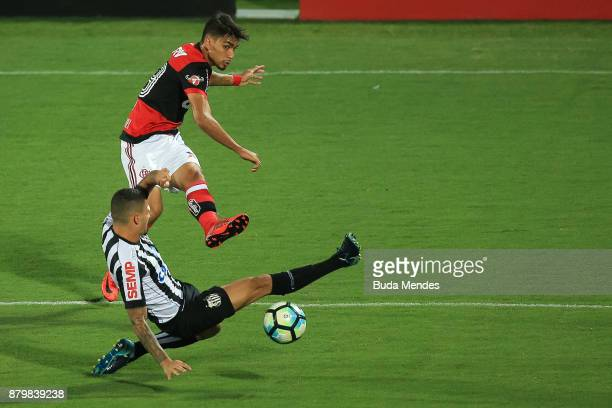 Lucas Paqueta of Flamengo struggles for the ball with Alison of Santos during a match between Flamengo and Santos as part of Brasileirao Series A...