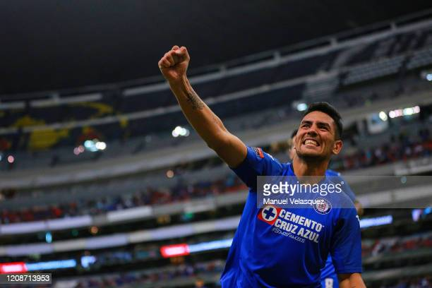 Lucas Passerini of Cruz Azul celebrates the second scored goal of Cruz Azul during the round of 16 match between Cruz Azul and Portmore as part of...