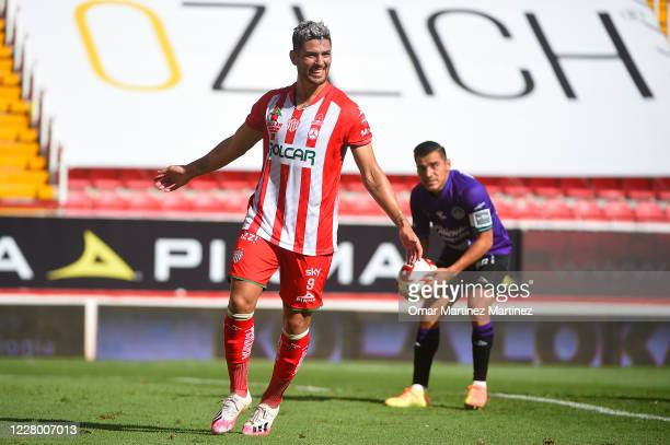 Lucas Passerini of Necaxa celebrates after scoring the first goal of his team during the 4th round match between Necaxa and Mazatlan FC as part of...