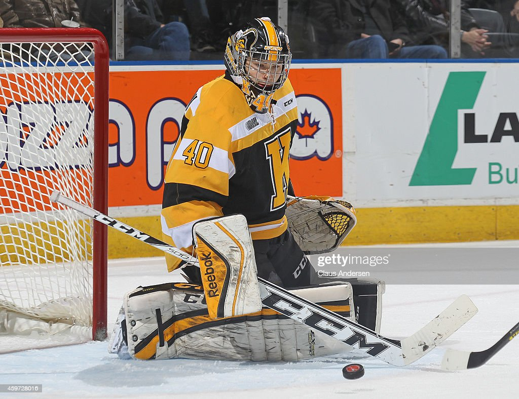 Lucas Peressini #40 of the Kingston Frontenacs turns a shot away against the London Knights in an OHL game at Budweiser Gardens on November 29, 2014 in London, Ontario, Canada. The Frontenacs defeated the Knights 3-2 in an overtime shoot-out.