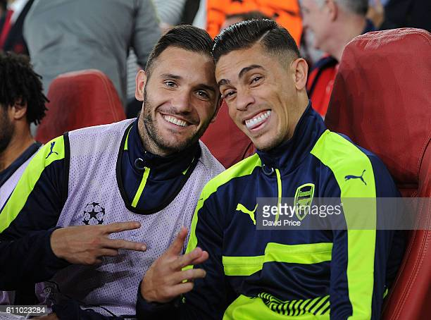 Lucas Perez and Gabriel of Arsenal before the UEFA Champions League match between Arsenal FC and FC Basel 1893 at Emirates Stadium on September 28...