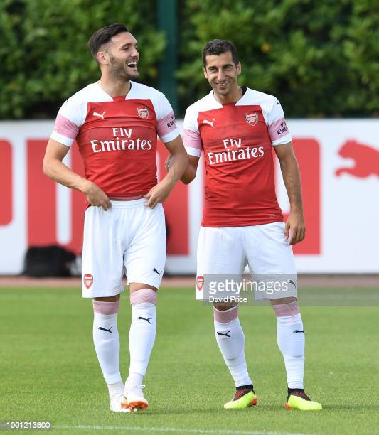 Lucas Perez and Henrikh Mkhitaryan of Arsenal during the match between Arsenal XI and Crawley Town XI at London Colney on July 18 2018 in St Albans...