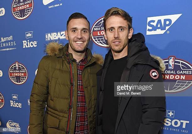 Lucas Perez and Nacho Monreal attend the Denver Nuggets v Indiana Pacers game during NBA Global Games London 2017 at The O2 Arena on January 12 2017...
